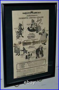Walt Disney Robin Hood 1973 World Premiere Promotional Huge Framed Poster / Ad