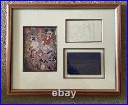 Walt Disney Signature Presented In Beautiful Framed Display Bold Autograph