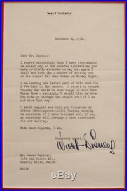 Walt Disney Signed 1938 Original Signed Letter Custom Framed 26.5 x 18 Piece