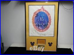 Walt Disney Signed Autograph book page framed with Disneyland 25th poster WithCOA