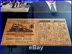Walt Disney Signed Original Disneyland Guide With Ticket! Framed! Rare! Look