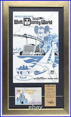 Walt Disney World 16x27 Custom Framed Print Display With Vintage Parking Pass