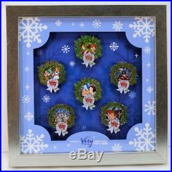 Walt Disney World 2018 Mickey Merry Christmas Party Snowflake 6 Pin Framed Set