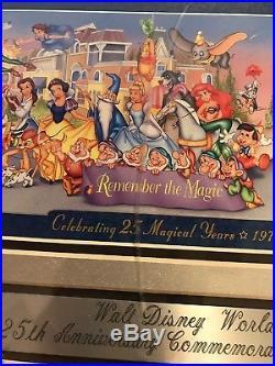Walt Disney World 25th Anniversary Framed Commemorative Ticket Very Rare! LOOK