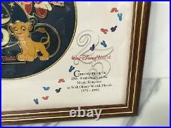 Walt Disney World 25th Anniversary Framed Pin Set TINKER BELL SORCERER GOOFY