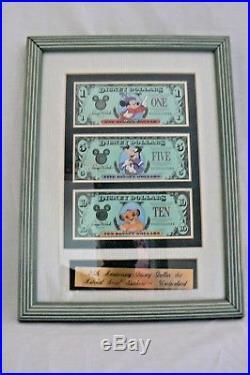 Walt Disney World 25th Anniversary Framed Set of Disney Dollars Uncirculated