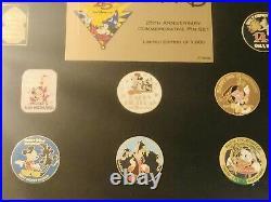Walt Disney World 25th Anniversary LE Of 1000 Company D Framed Pin Set Sealed