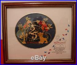 Walt Disney World 25th Anniversary Magic Kingdom Framed Pin Set NEW OLD STOCK