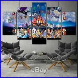 Walt Disney World Characters Five Piece Canvas Framed Wall Art Home Decor 5pc