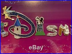 Walt Disney World Letters Framed 15 Pin Set haunted mansion Tinkerbell Figment