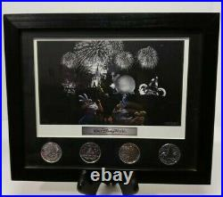 Walt Disney World Theme Park Icons Fab 5 Lithograph with 4 Coin Framed Set