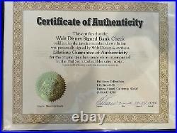 Walt Disney autographed signed personal check Phil Sears COA Framed Disneyland