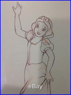 Walt Disneys Snow White & The Seven Dwarfs 1937/Framed Drawing Print 11 X 13