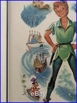 Walt disney 50th Anniversary Peter Pan framed Pin Set Limited 1000