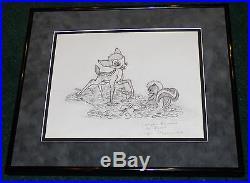 Wdcc Bambi Call Me Flower Framed Original 1990 Figurine Design Drawing Disney